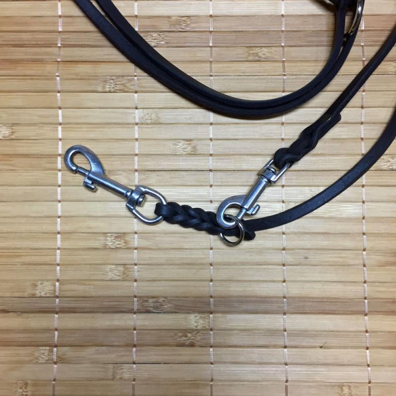 Hundeleine Fettleder tiefheißgefettet 3-fach verstellbar, 8 mm x 3 mtr, Edelstahlbeschläge